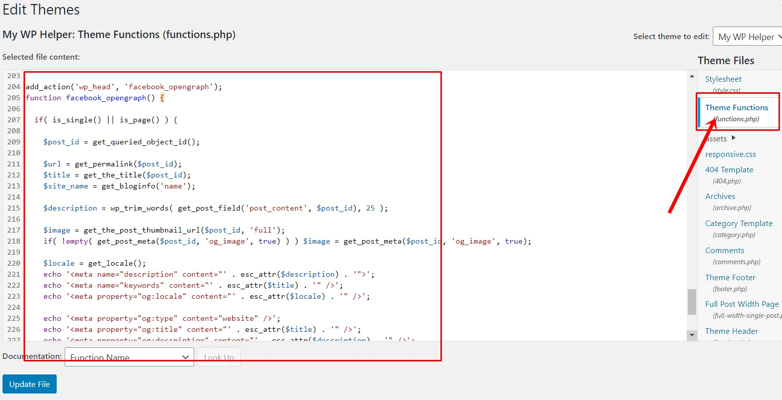 Functions file for add Facebook open graph meta information